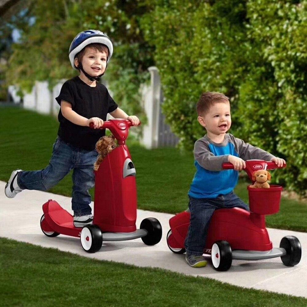 Enfants deux-en-un Scooter et Ride-On jouet bébé Balance vélo Walker Kick Foot Skateboard 3 roues pour 1-5 ans Triciclo