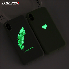 USLION Soft TPU Luminous Phone Cases For iPhone 11 7 8 6s Plus Glow Ultrathin Cover Couples Love Heart Case 7Plus