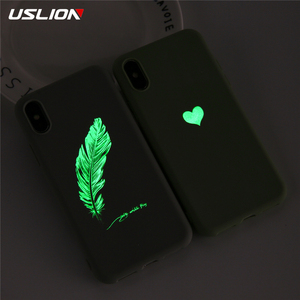 USLION Soft TPU Luminous Phone Cases For iPhone 7 8 6s Plus Glow Ultrathin Cover Couples Love Heart Case For iPhone 11 Pro 7Plus(China)