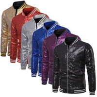 Shiny Red Sequin Zipper Bomber Jacket Men 2019 Hip Hop Streetwear Baseball Jackets Coats Mens Nightclub Party DJ Clothing Veste