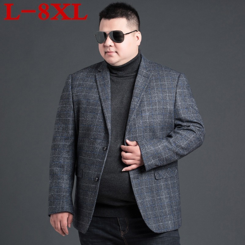 Plus Size 8XL Wool Men Suits Tailor Made Luxury Fashion Plaid  Smart Casual Business Suits For Men,Bespoke  Fashion Suit  Jacket