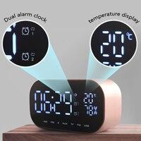 LED Alarm Clock Digital Wireless Stereo Subwoofer Music Player Temperature LCD Display FM Radio Portable Bluetooth Speaker