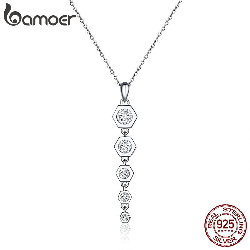 BAMOER Trendy Pendant Necklace 925 Sterling Silver Long Drop Dangle Y-shape Chain Necklaces for Women Girl Accessories BSN052BAMOER Trendy Pendant Necklace 925 Sterling Silver Long Drop Dangle Y-shape Chain Necklaces for Women Girl Accessories BSN052