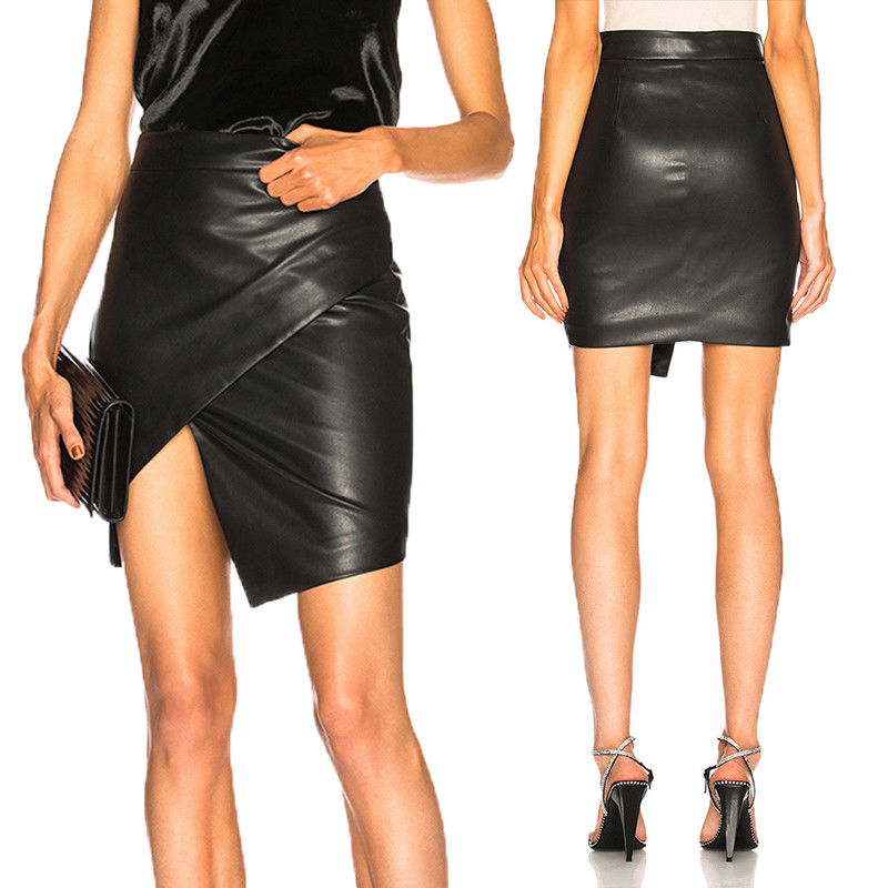New Women Skirts High Waist Bodycon PU Leather