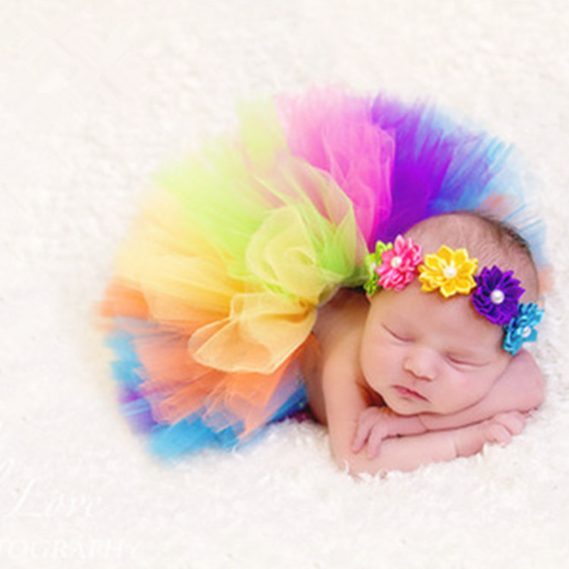 Newborn Photography Props Baby Rainbow Skirts Tutu Tulle Skirt+Baby Headband Set Baby Photo Prop Accessories Fotografia Clothing