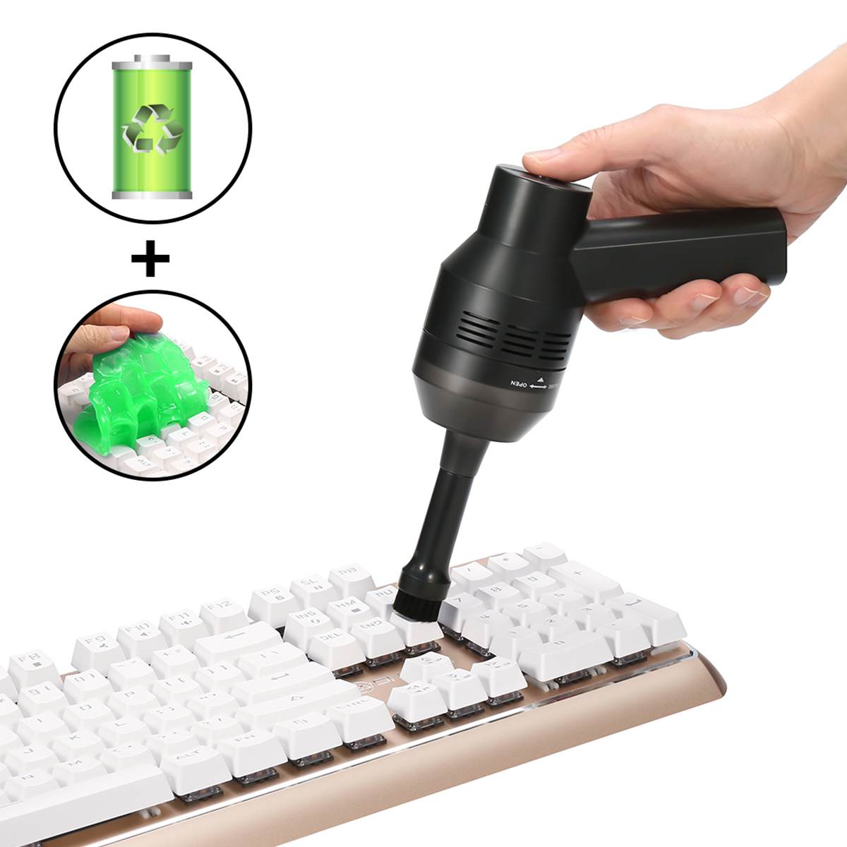 2019 USB Keyboard Cleaner With Cleaning Gel Rechargeable Mini Vacuum Cleaner Cordless For Car Auto Dust Computer Laptop Cleaning(China)