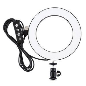 Image 1 - Puluz 4.6 Inch Usb 3 Modes Dimmable Photography Photographic Studio Ring Light Led Video Light & Cold Shoe Tripod Ball Head