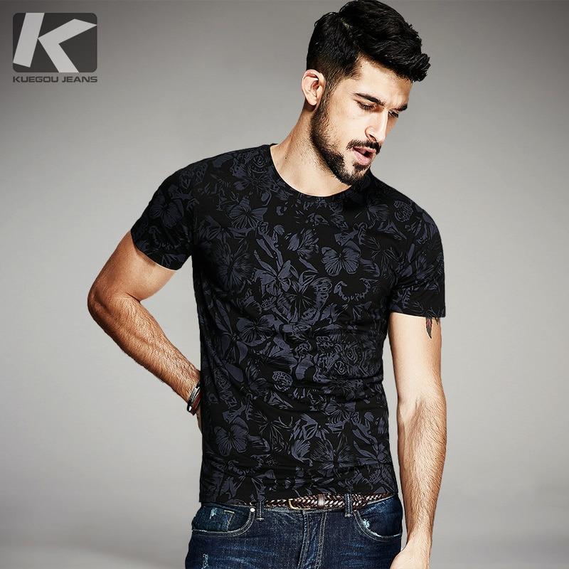 KUEGOU Új nyári férfi alkalmi pólók Fekete virág Nyomtatás Márka ruházat az ember rövid ujjú karcsú pólóira Férfi felsőrészek 836