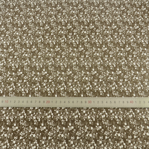 100 Cotton Fabric White Flowers Designs Dark Brown Tecido Plain