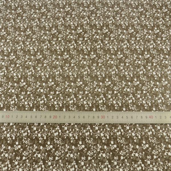 100 Cotton Fabric White Flowers Designs Dark Brown Tecido Plain