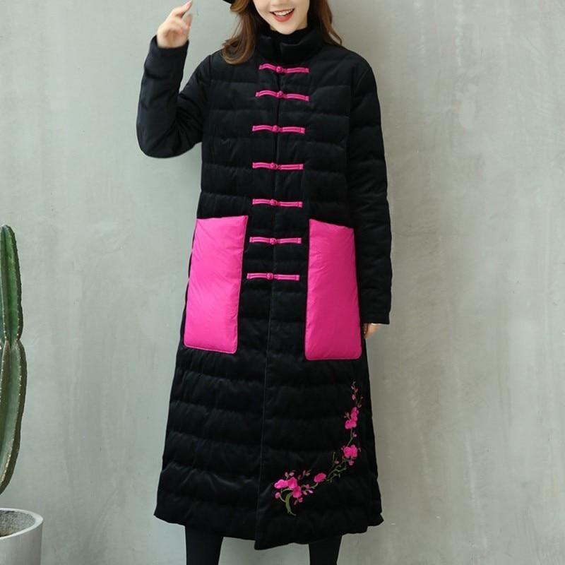 Vêtements Coton Manteau Oc132 Nouvelle 2018 black Col pink ewq Noir Splice Red Bouton Hiver Automne Lâche Poches Haut Ourlet Imprimer Femmes vFWnTqzn
