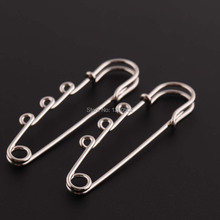 цены 20pcs/lot 63*15mm Silver Color Metal Brooch pins Safety Pins with 3 holes For Women Earring Decoration