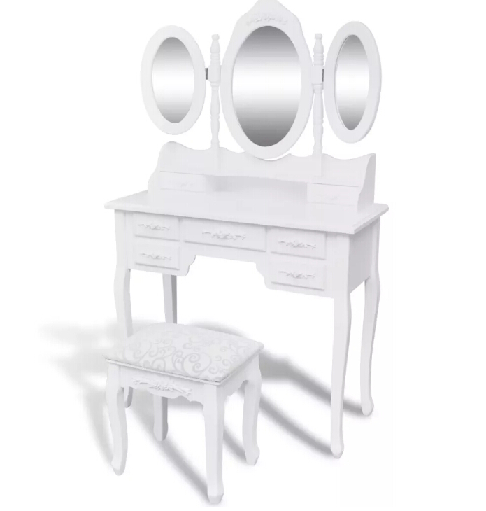 vidaXL Dressing table with 3 Adjustable Swivel Oval Mirror White Makeup Dressing Table Vanity and Stool SetvidaXL Dressing table with 3 Adjustable Swivel Oval Mirror White Makeup Dressing Table Vanity and Stool Set