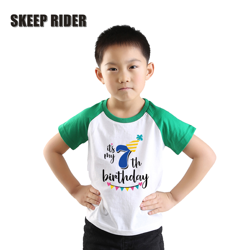 Boy T-Shirt Short-Sleeve Raglan Kids Tee Body-Happy-Birthday-Party Toddler White Green