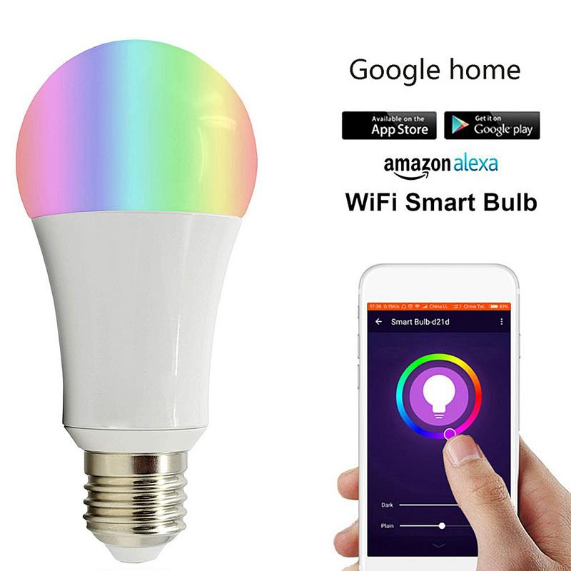 RGBW Bulb WIFI Wireless Control E27 B22 RGB Dimmable Lamp 9W Home LED Smart Bulb 16 million color light Amazon Alexa ControlRGBW Bulb WIFI Wireless Control E27 B22 RGB Dimmable Lamp 9W Home LED Smart Bulb 16 million color light Amazon Alexa Control