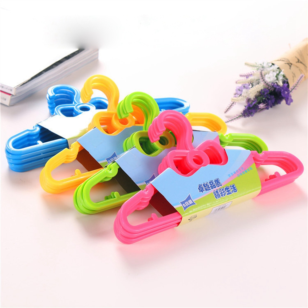 10PC Childrens Cute Bow Hangers Plastic Portable Hanging Solid Color Sturdy Household Kids Hangers Clothes Racks clothes hanger