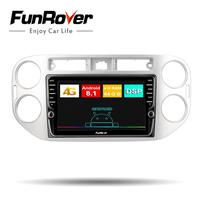 Funrover 8cores Android 8.1 2din Car DVD Multimedia Player For Volkswagen Tiguan 2010 2016 Autoradio stereo GPS Navigation vedio