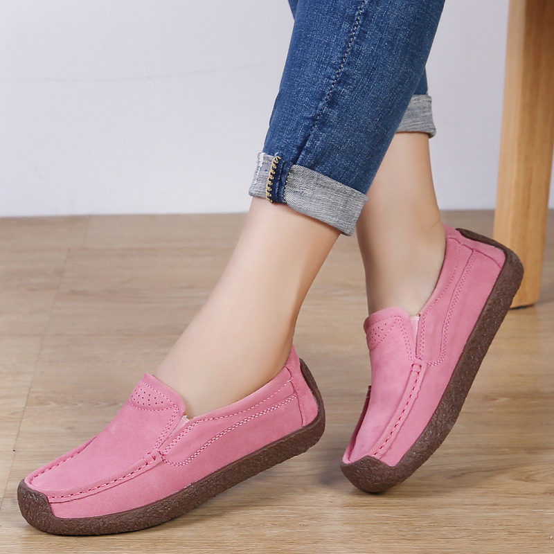 2019 Spring women flats Genuine   Leather   Casual Shoes Woman Loafers Cow   Suede   Women moccasins mother's shoes big size 35 - 43
