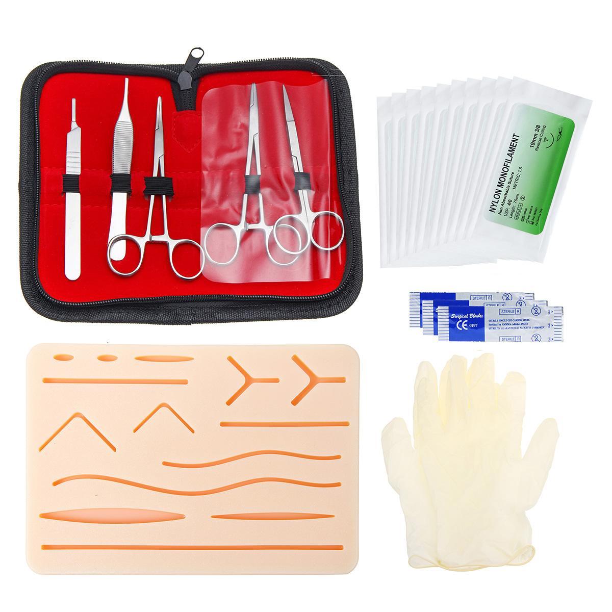 25 uds Kit de entrenamiento de sutura quirúrgica para el funcionamiento de la piel Práctica de sutura modelo de almohadilla de entrenamiento tijeras de aguja Kit de herramienta de enseñanza médica