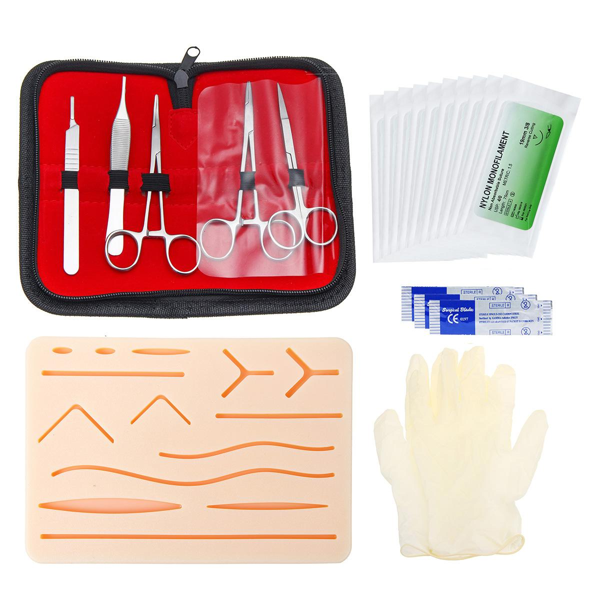 25pcs Kit de Treinamento de Sutura Cirúrgica Operar Modelo de Prática de Treinamento de Sutura Da Pele Pad Agulha Tesoura Kit Ferramenta de Ensino Médico