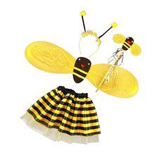 Маскарадный костюм феи на хеллоуин для девочек из 4 предметов с изображением шмеля пчелы и меда