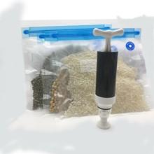 Vacuum Food Bag Sealer Hand Pump Food Sealer Vacuum Reusable Silicone Food Bag  Home kitchen Storage zip packs
