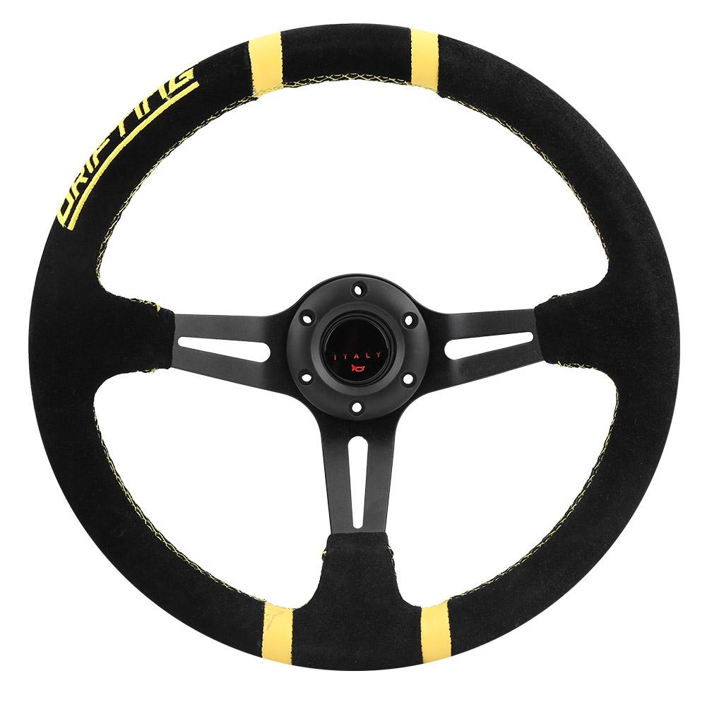 350mm 14in Universal Aluminum Frame Black Suede Car Racing Steering Wheel W Horn automobiles accesorios automovil