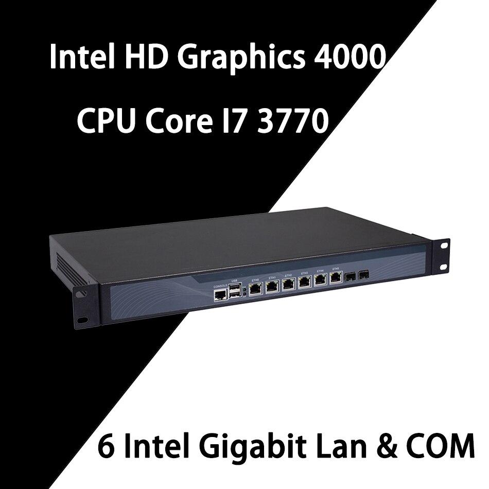 Firewall Mikrotik Pfsense VPN Network Security Appliance Router PC Intel Core I7 3770,[HUNSN SA11R],(6Lan/2USB/1COM/1VGA)