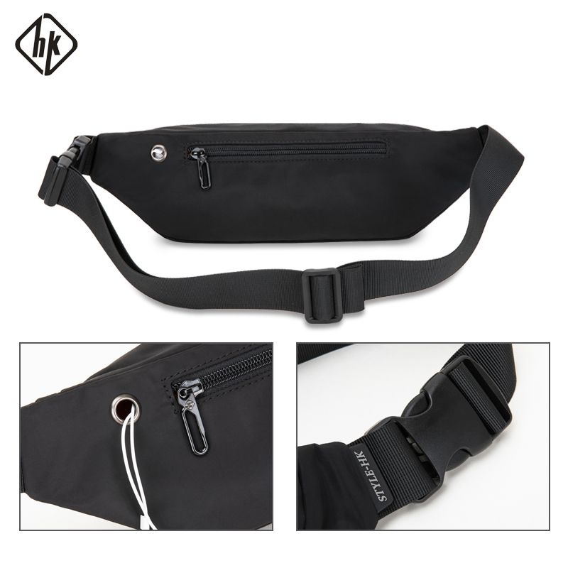 Hk Men Waist Bag Pack Teenager's Travel Phone Pouch Men's Waist Bag Packs