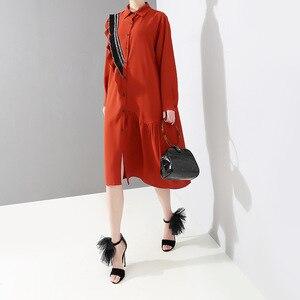 Image 2 - [EAM] 2020 nueva primavera otoño solapa de manga larga roja suelta volantes Stplit conjunto de gran tamaño camisa vestido mujeres moda marea JQ148