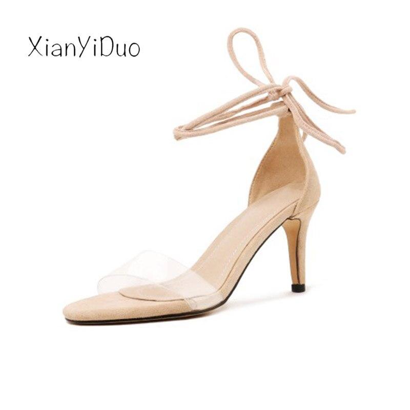 Xianyiduo2019 летняя модная пикантная женская обувь винно Красные босоножки с закрытой пяткой, прозрачный высокий каблук, большие размеры 40 46, отк... - 4