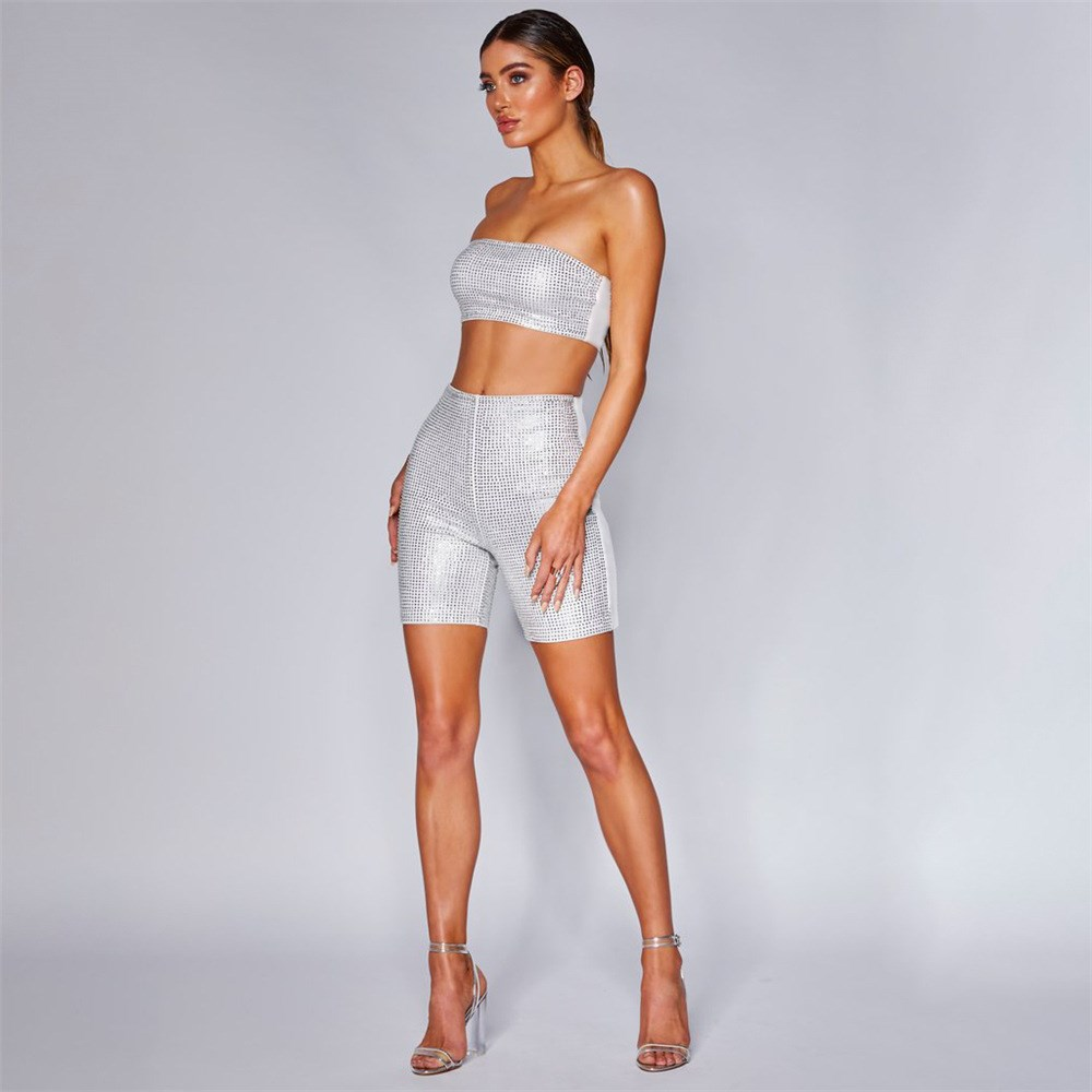 Gbyxty Reflective Stripe Sets Tube Top And Biker Shorts Sexy Two Piece Outfits For Women Summer Neon 2 Two Piece Sets Za1512 Women's Sets Women's Clothing