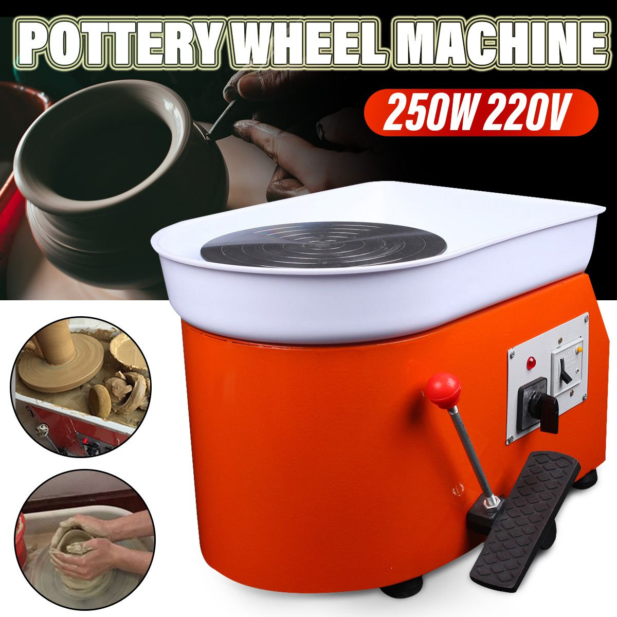 110V/220V Pottery Forming Machine Ceramic Work 250W Electric Pottery Wheel DIY Clay Tool with Tray + Foot Pedal for Home Use