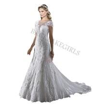 Short Sleeves Beaded Wedding Dress 2019 Bride Dresses