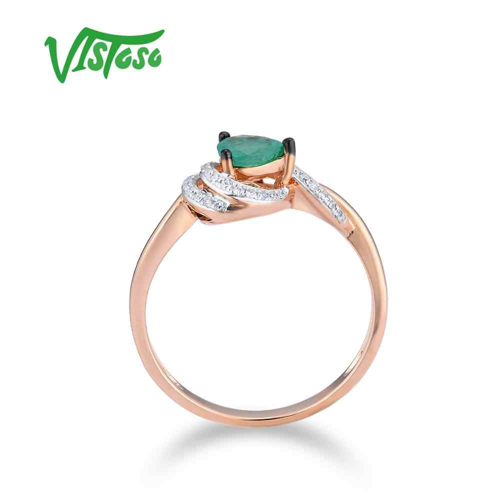 VISTOSO แหวนทองแท้ 14 K 585 Rose Gold แหวน Magic มรกตประกายเพชรครบรอบเครื่องประดับ Fine
