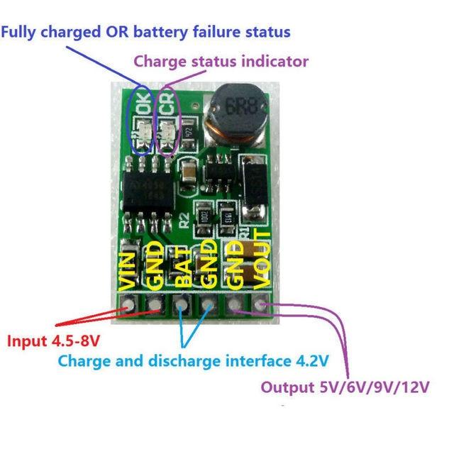 4.2V Charger + 5V Discharger Board DC DC Converter Step up