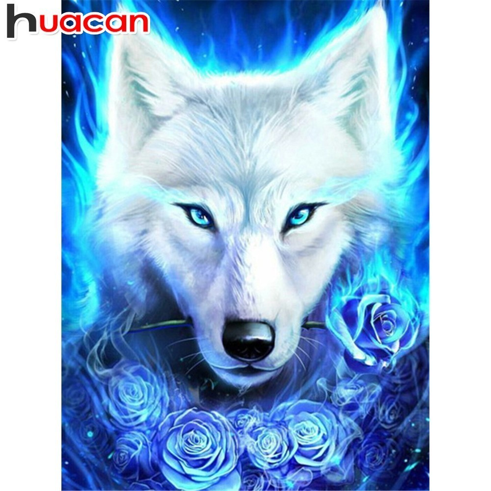 HUACAN Diamond Embroidery Animals Full Square Diamond Painting Wolf Picture Of Rhinestones Painting With Diamonds Decor HomeHUACAN Diamond Embroidery Animals Full Square Diamond Painting Wolf Picture Of Rhinestones Painting With Diamonds Decor Home