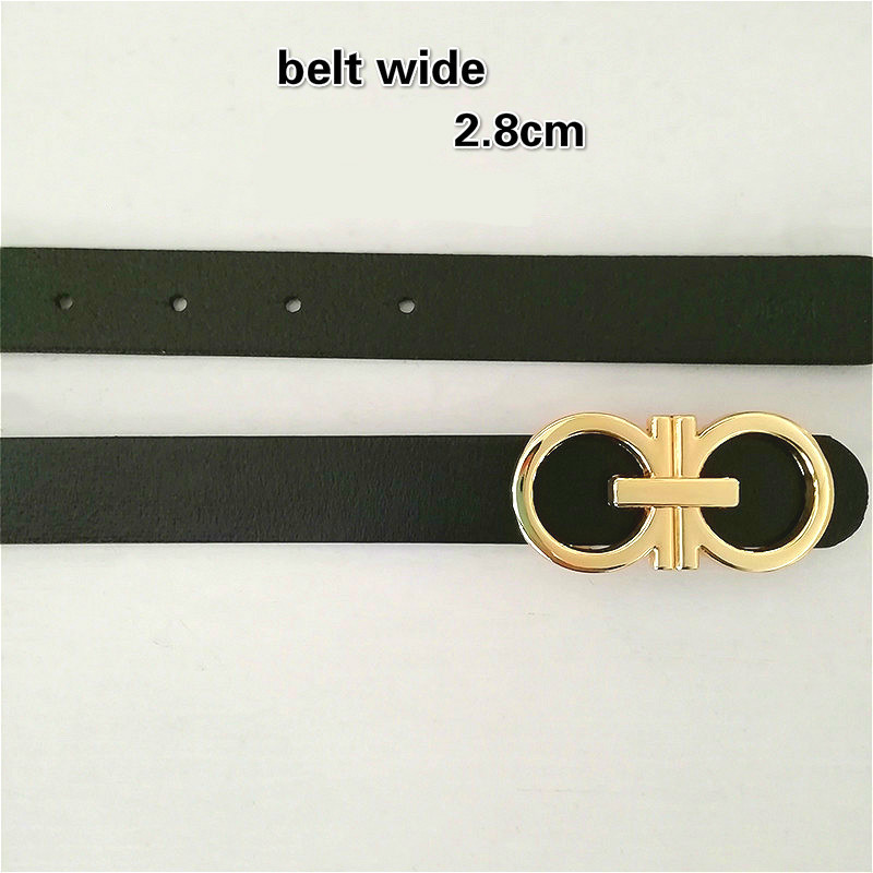 [PYBETA] 2018 New Word Gold 8 CG Buckle   Belts   Female 2.3/2.8cm Wide Brown Black Red Genuine Leather Waist Bands For Women Jeans