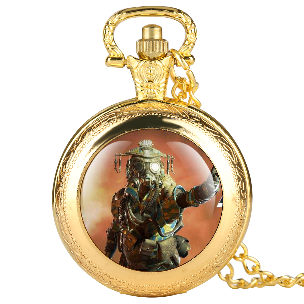 Apex Online Games Series Theme Sticker Pocket Watch For Men Quartz Double-watch Cover Watches For Boy Arabic Digital Watch Gift