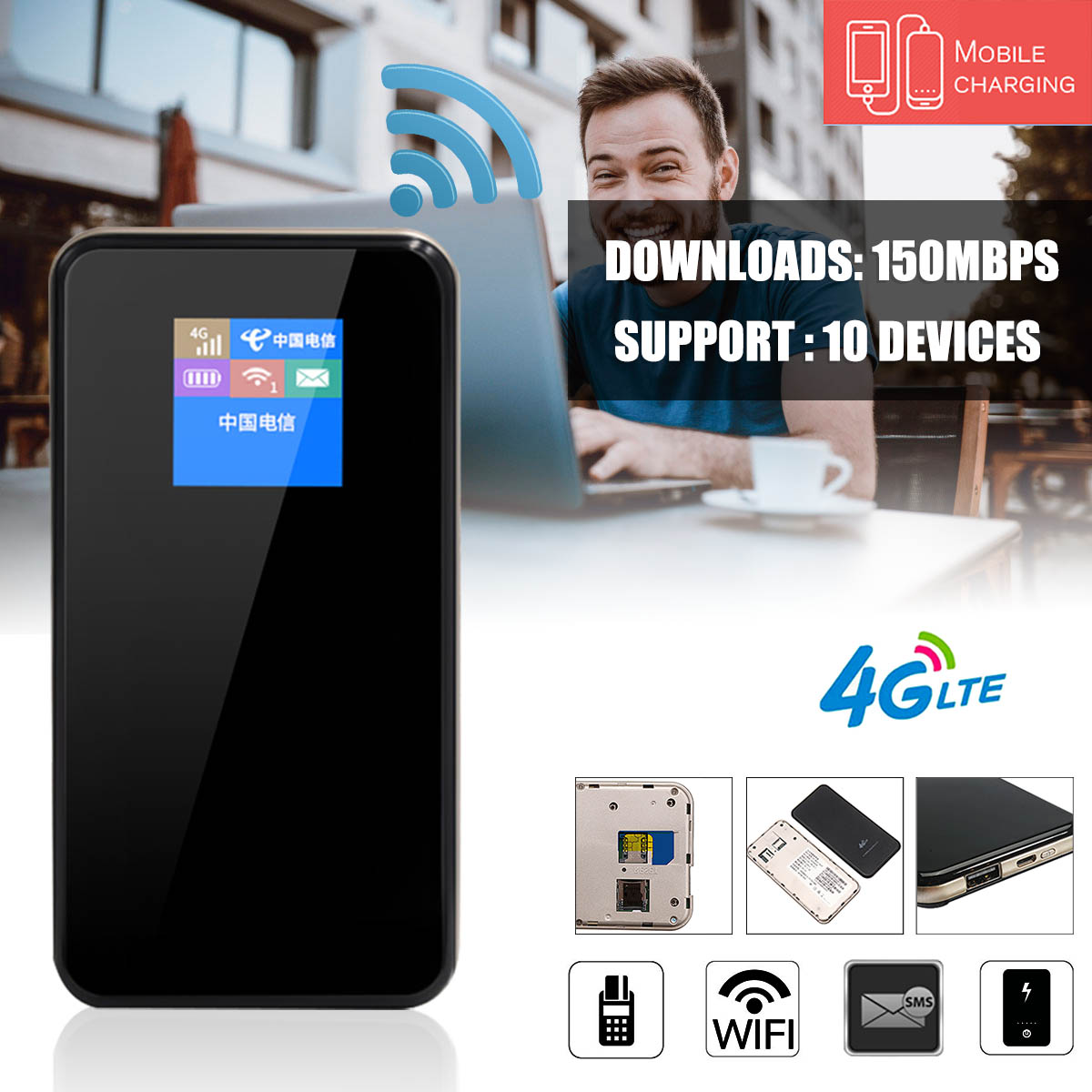 Multifunction 4G Mobile Wireless Wifi Router Modem  MF768 5Mode LCD Screen 8800mAh Charger 150Mbps High Speed for Car HomeMultifunction 4G Mobile Wireless Wifi Router Modem  MF768 5Mode LCD Screen 8800mAh Charger 150Mbps High Speed for Car Home