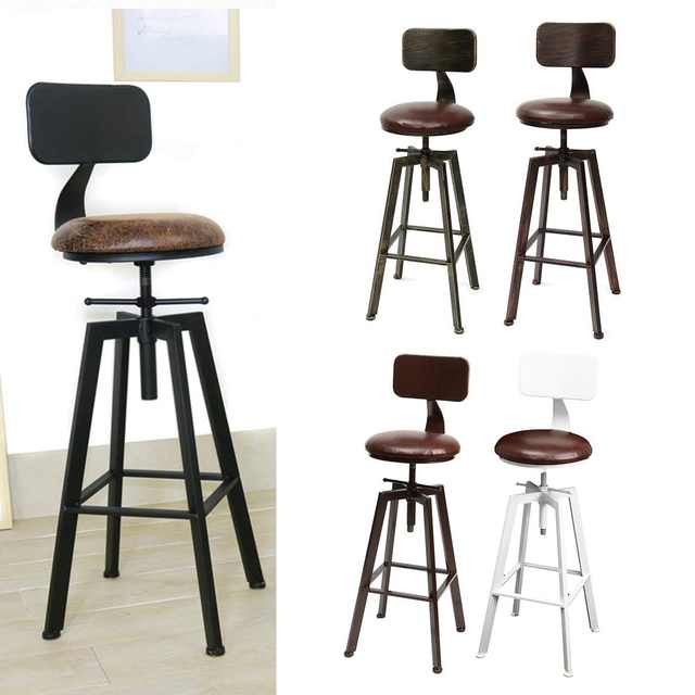 Magnificent Us 93 17 52 Off 4 Colors Vintage Retro Craft Pu Leather Bar Chair Stool 360 Degree Rotate Counter Lift High Chair Stool Home Bar Decoration New In Spiritservingveterans Wood Chair Design Ideas Spiritservingveteransorg