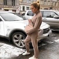 Winter Woolen Cashmere Knitted Warm Women Suits Women Knitting Zipper Cardigan Trousers Pants Two Piece Set