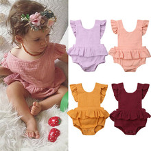 PUDCOCO Newest Newborn Baby Girls Solid Ruffle Romper Jumpsuit Casual Lovely Sunsuit Outfits