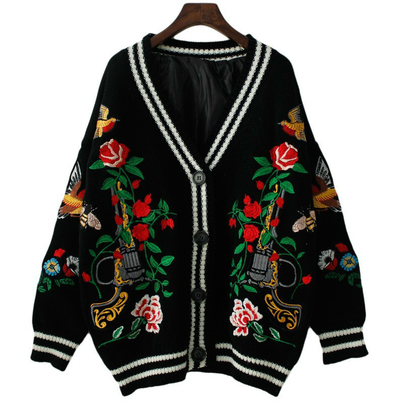 TVVOVVIN Fashion Woman Sweater Autumn Winter New Thick Full Cardigans Loose Plus Size Embroidery Flower Knitted