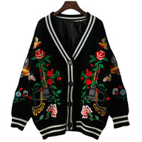 TVVOVVIN Fashion Woman Sweater Autumn Winter New Thick Full Cardigans Loose Plus Size Embroidery Flower Knitted Sweater T443
