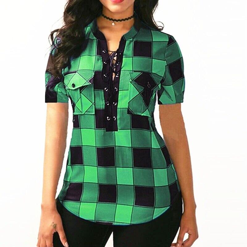 5XL Short Sleeve Plaid Shirt Female Summer Cotton Plus Size Bandage Womens Tops And Blouses Deep V Neck Sexy Fashion 2019
