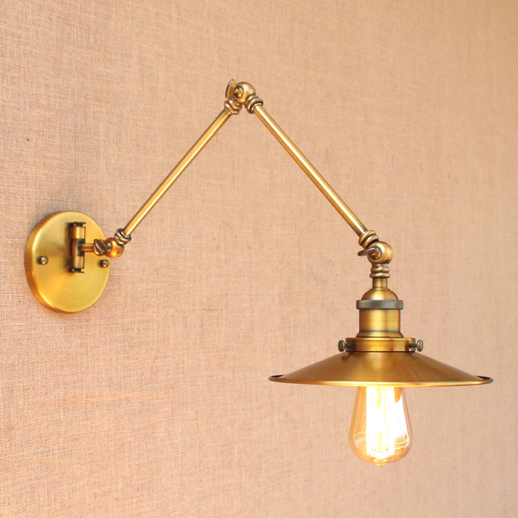 RH Rustic Brass Loft Style Industrial Wall Lamp Vintage Adjustable Long Swing Arm Light Fixtures Wall