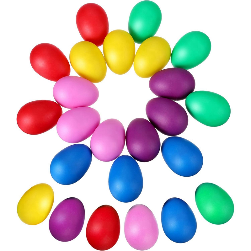 24 Pieces Egg Shaker Set Easter Maracas Musical Eggs Plastic For Easter Party Favours Party Supplies Musical Tool