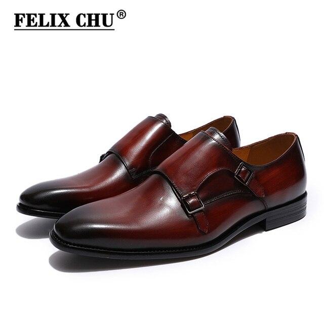 268a4a7d8e FELIX CHU Handcrafted Men's Plain Toe Oxford Double Monk Strap Genuine Calf  Leather Modern Classic Dress Shoes Man Shoes
