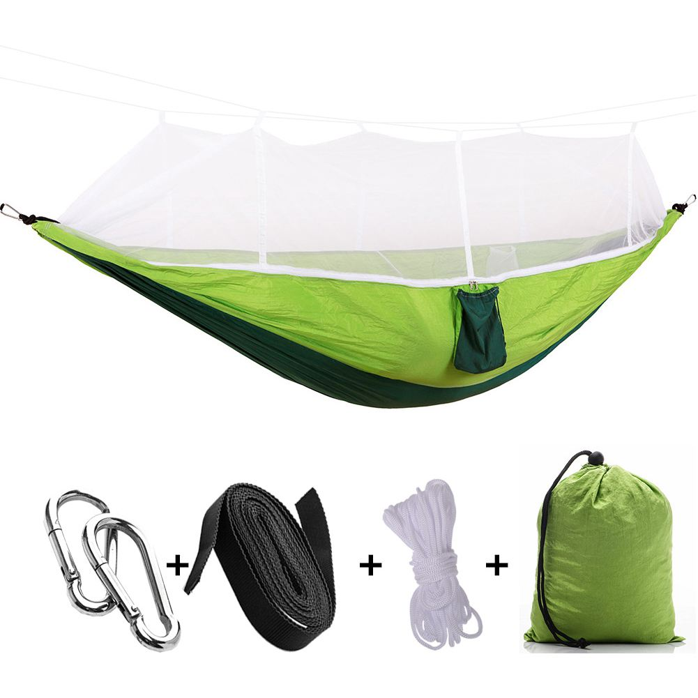 Portable High Strength Parachute Fabric Camping Hammock Hanging Bed With Mosquito Net Sleeping Hammock 260cm x 130cmPortable High Strength Parachute Fabric Camping Hammock Hanging Bed With Mosquito Net Sleeping Hammock 260cm x 130cm